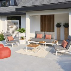 Soho lounge wit alu-teak 2-zitsbank + 2 Felix relax stoelen + 2 salontafels + 2 poefen 0811BerkelEnschot-Sets-002