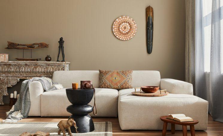 Stylish,Ethnic,Living,Room,Interior,With,Design,Modular,Sofa,,Wooden